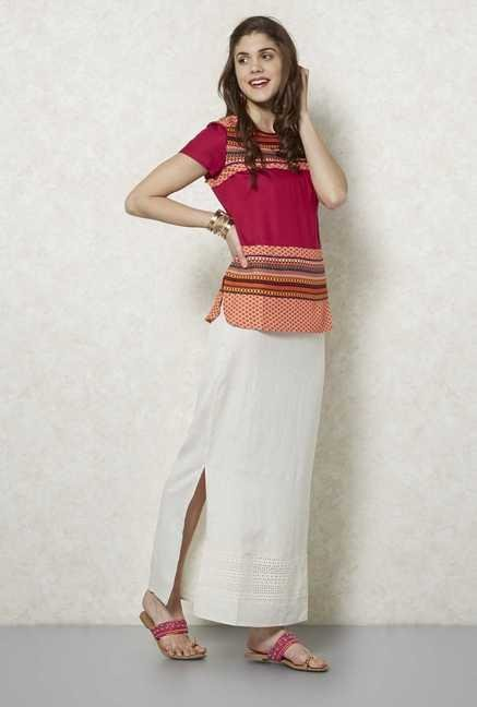 Fusion Beats Beige Long Skirt