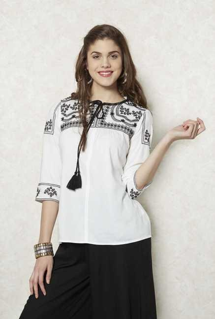 Fusion Beats Cream Embroidered Top