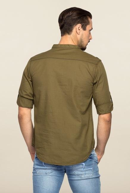 Spykar Green Ranger Solid Slim Fit Shirt