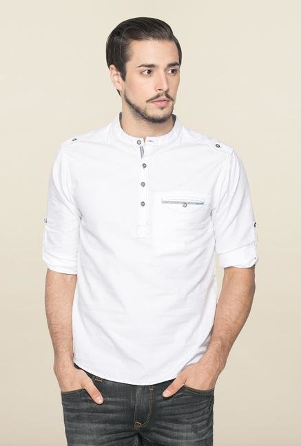 Spykar White Ranger Solid Slim Fit Shirt