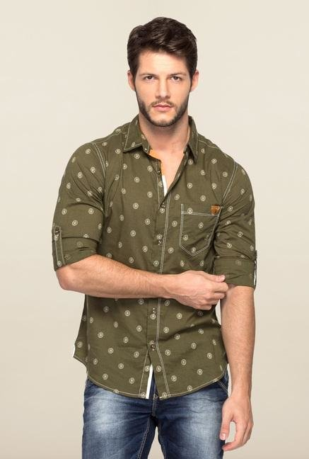 Spykar Green Ranger Printed Slim Fit Shirt