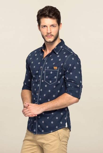 Spykar Navy Ranger Printed Slim Fit Shirt
