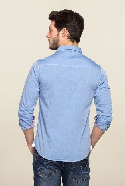 Spykar Blue Ranger Solid Slim Fit Shirt