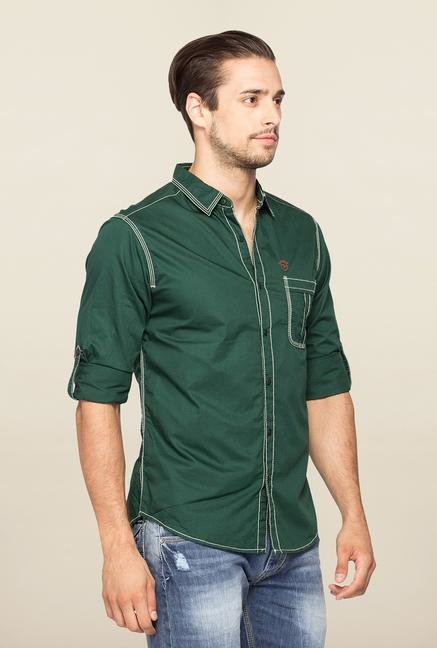 Spykar Green Ranger Full Sleeves Slim Fit Shirt