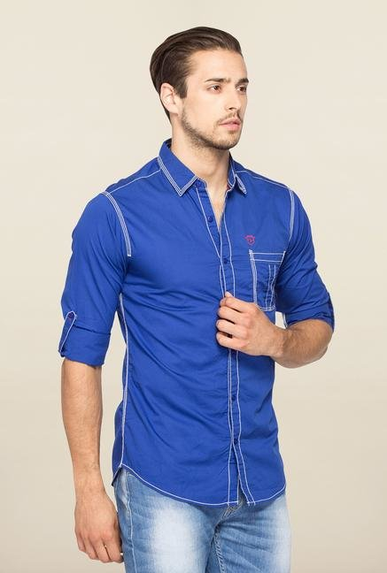 Spykar Blue Ranger Full Sleeves Slim Fit Shirt