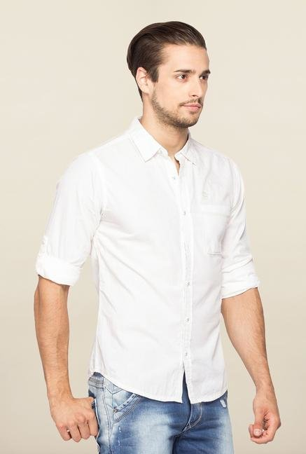 Spykar White Ranger Cotton Slim Fit Shirt