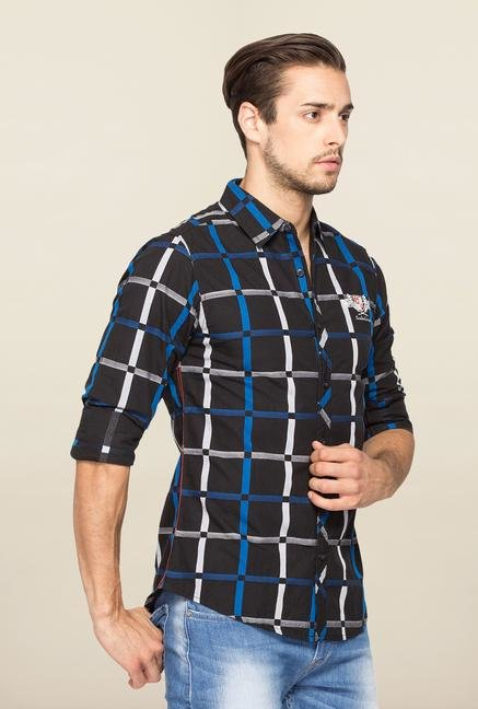 Spykar Black Ranger Checks Slim Fit Shirt