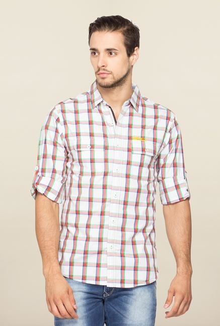 Spykar White Ranger Checks Slim Fit Shirt