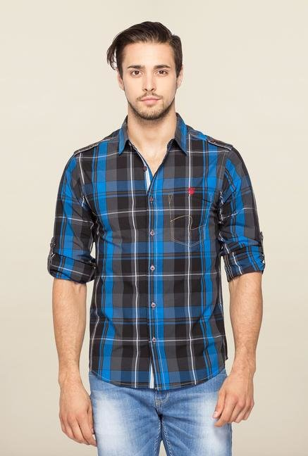Spykar Blue Ranger Checks Casual Shirt