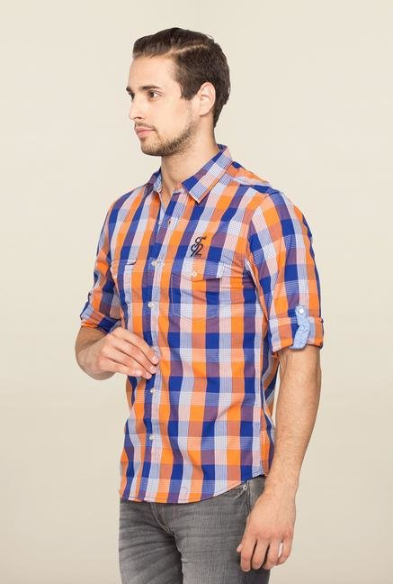 Spykar Orange Ranger Checks Slim Fit Shirt