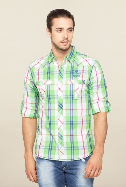 Spykar Green Ranger Full Sleeves Checks Shirt