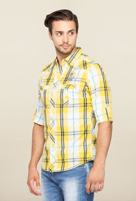 Spykar Yellow Checks Ranger Slim Fit Shirt