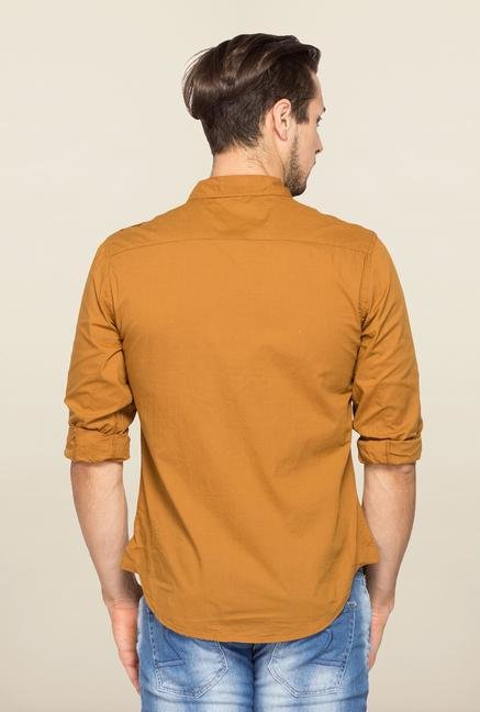 Spykar Khaki Ranger Solid Slim Fit Shirt
