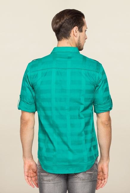 Spykar Green Ranger Checks Slim Fit Shirt