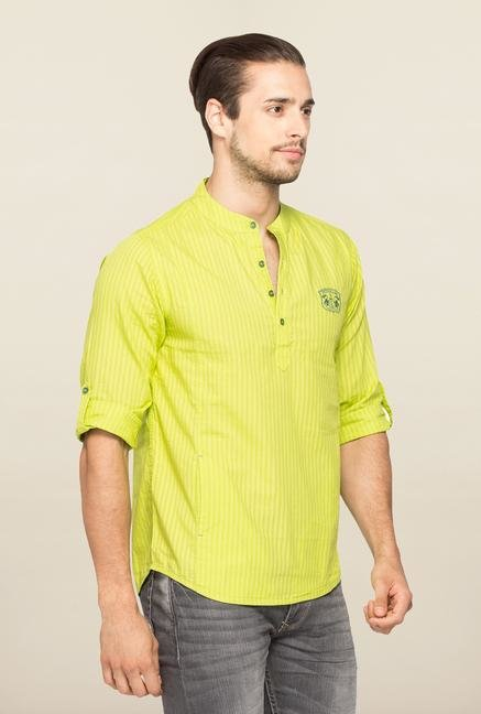 Spykar Lime Stripe Slim Fit Shirt