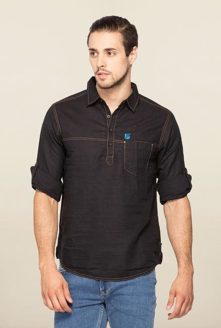 Spykar Black Ranger Solid Cotton Shirt