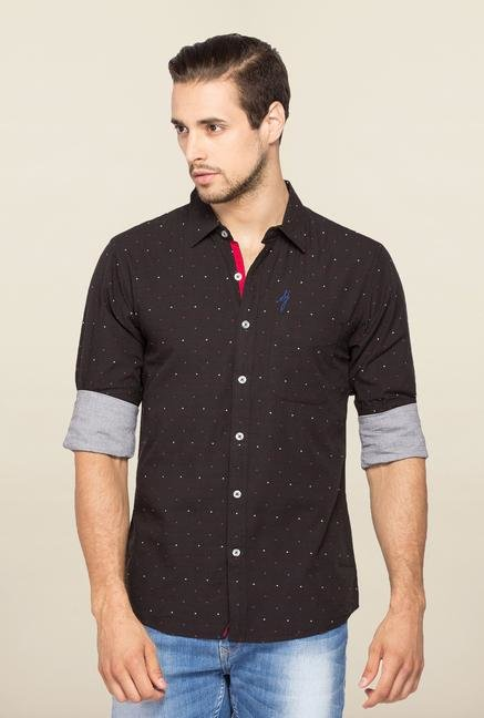 Spykar Black Ranger Dot Printed Shirt