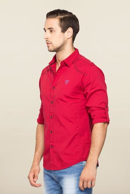 Spykar Red Ranger Solid Slim Fit Shirt
