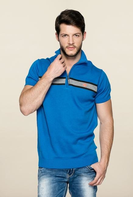 Spykar Blue Polo Cotton T Shirt