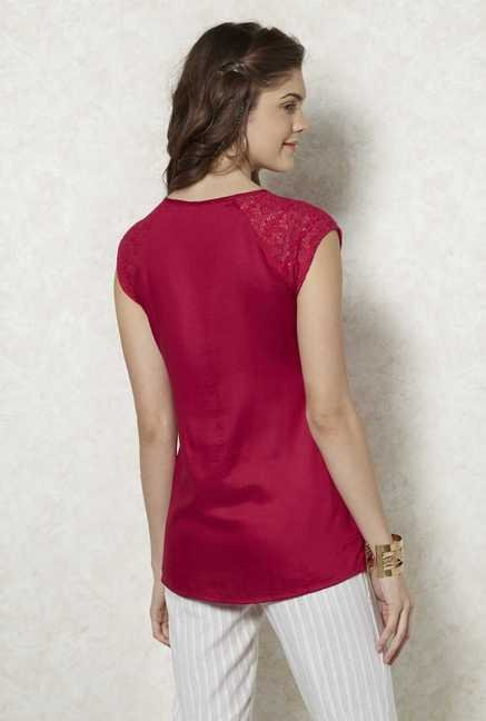 Fusion Beats Fuscia Lace Top
