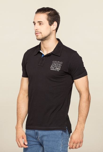 Spykar Black Slim Fit Casual T Shirt
