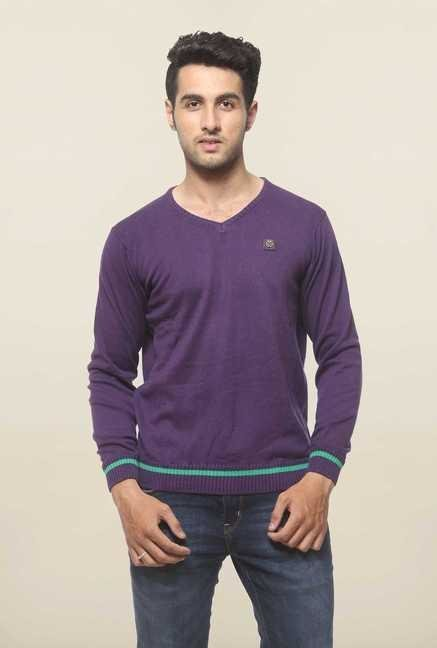 Spykar Purple Cotton V Neck T Shirt