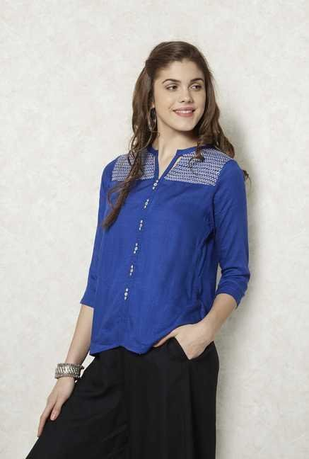 Fusion Beats Indigo Embroidered Tunic