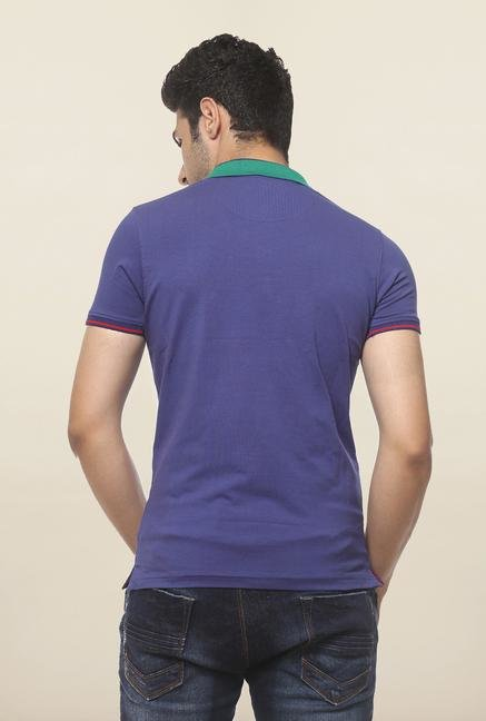Spykar Blue Slim Fit Polo T Shirt