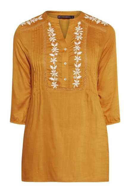 Fusion Beats Papaya Embroidered Top