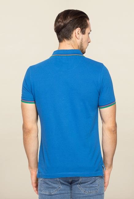 Spykar Blue Polo Slim Fit T Shirt