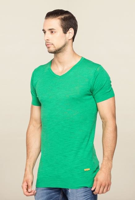 Spykar Green Slim Fit V Neck T Shirt