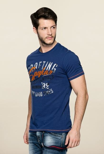 Spykar Blue Slim Fit Printed T Shirt