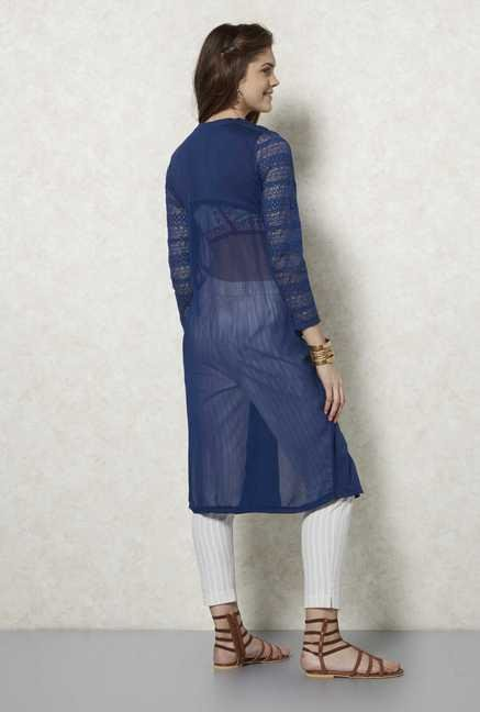 Fusion Beats Blue Lace Sleeves Shrug