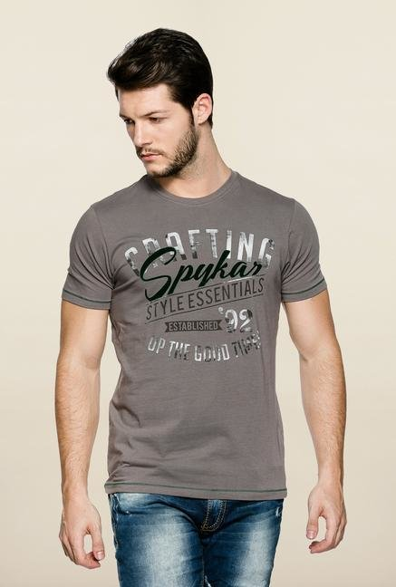 Spykar Grey Slim Fit Printed T Shirt