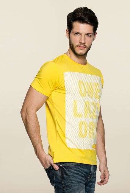 Spykar Yellow Slim Fit Printed T Shirt