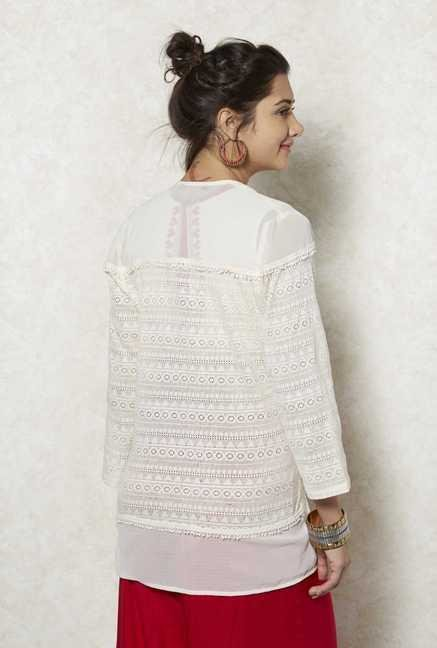 Fusion Beats Cream Lace Shrug