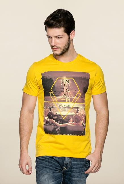 Spykar Yellow Crew Neck Printed T Shirt