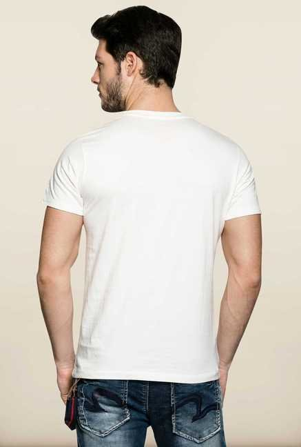 Spykar White Cotton Crew Neck T Shirt