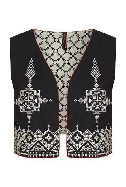 Fusion Beats Black Embroidered Vest