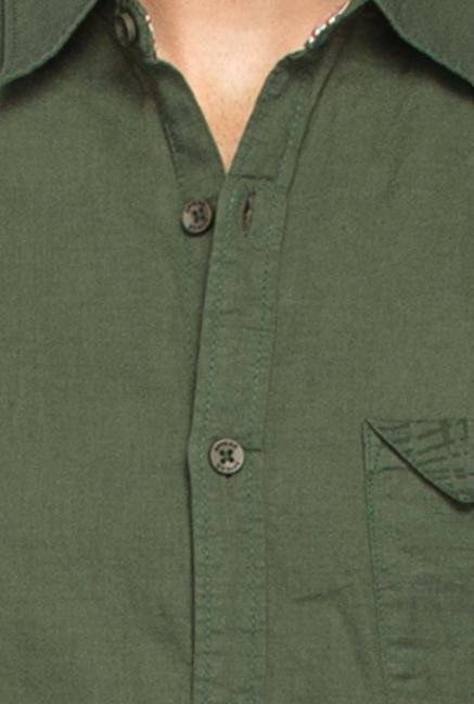 Spykar Green Ranger Solid Cotton Shirt