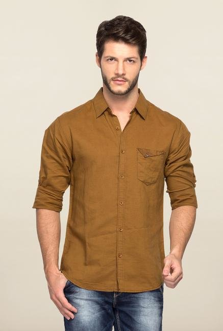 Spykar Brown Ranger Solid Slim Fit Shirt