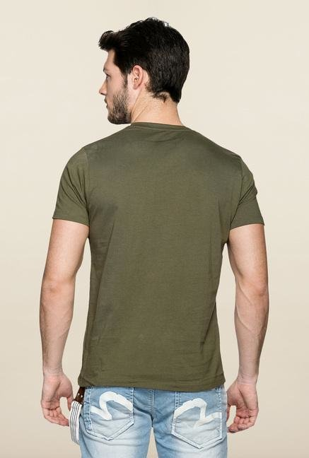 Spykar Green Slim Fit Crew Neck T Shirt