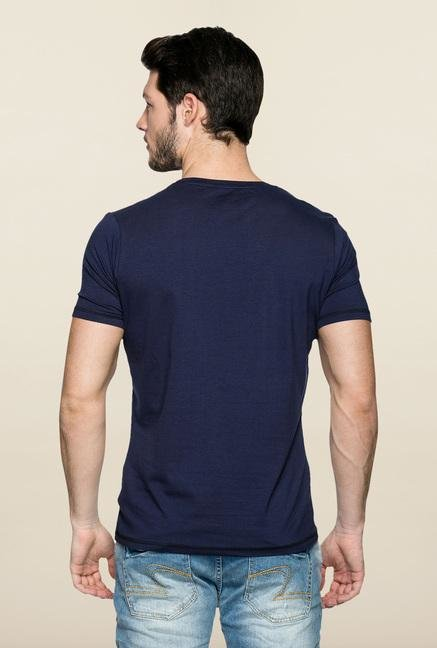 Spykar Blue Printed Crew Neck T Shirt