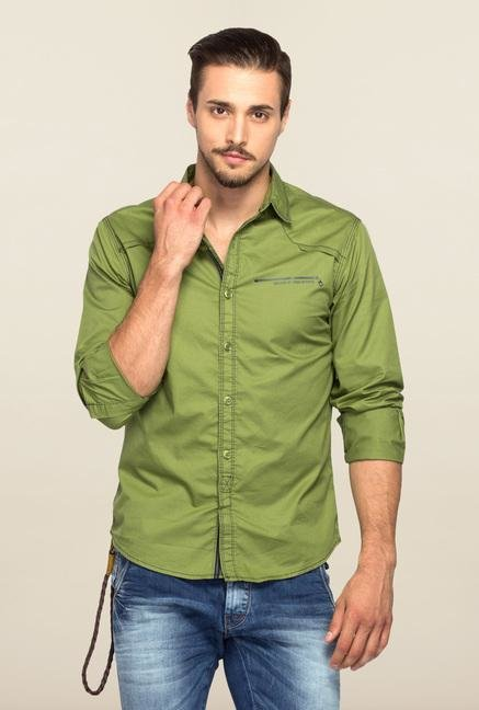 Spykar Green Ranger Solid Full Sleeves Shirt