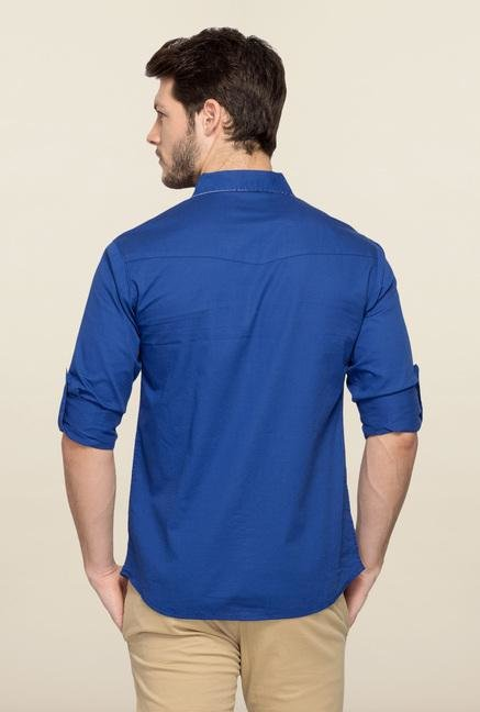 Spykar Blue Ranger Solid Casual Shirt