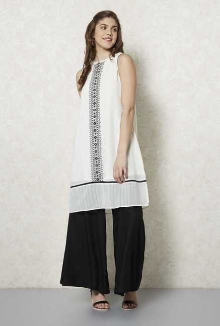Fusion Beats Cream Embroidered Tunic
