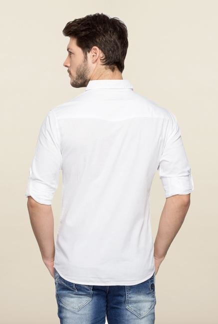 Spykar White Ranger Solid Casual Shirt