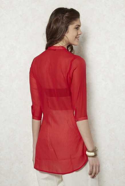 Fusion Beats Red Georgette Tunic
