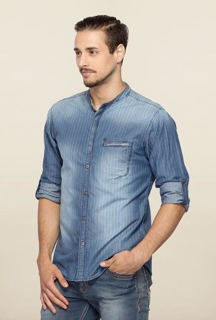 Spykar Blue Ranger Stripes Slim Fit Shirt