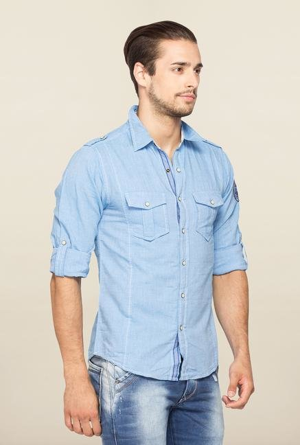 Spykar Blue Ranger Full Sleeves Cotton Shirt